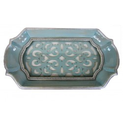 Medallion Glass Tray (Turquoise)