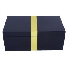 Navy Jewellery Box with Gold strip