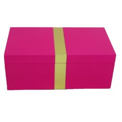 Pink Jewellery Box with Gold strip