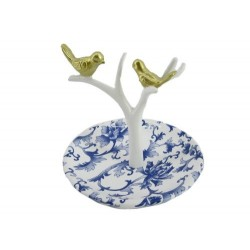 Blue and White Birds Ring Holder