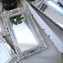 Ornate Mirror Tray Silver