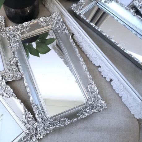 Ornate Mirror Tray Silver