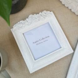Flower Photo Frame White (4x4)