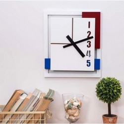 Minimalist Wall Clock-White Red Blue