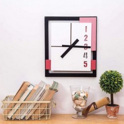 Minimalist Wall Clock-Black Red Pink