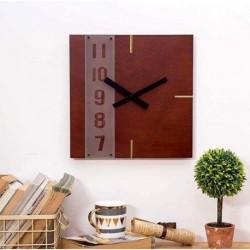 Square Wall Clock-Wood Grain Red