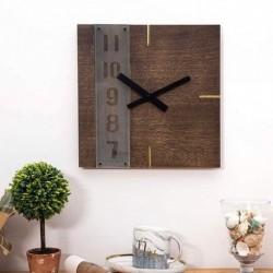 Square Wall Clock-Wood Grain Brown