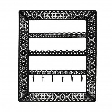 Flora Wall Jewellery Holder With Hooks (Black)